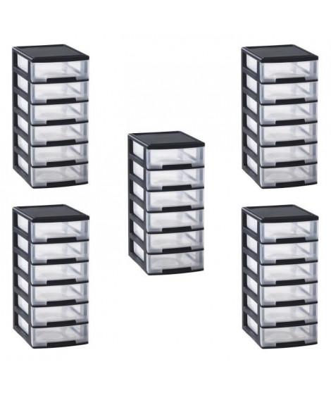 ALLIBERT Lot de 5 tours de rangement 6 tiroirs 6x5 L