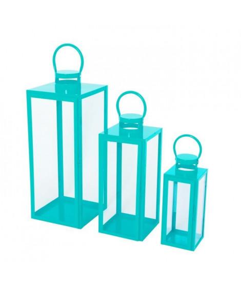 HOMEA Set de 3 lanternes en métal H30-41-54 cm turquoise