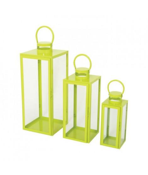 HOMEA Set de 3 lanternes en métal H30-41-54 cm vert anis