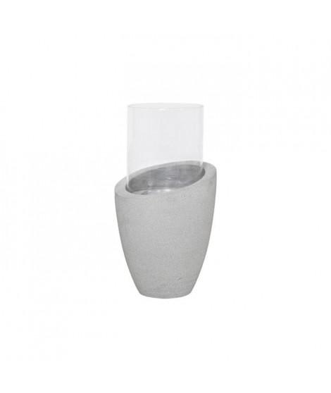 HOMEA Photophore déco esprit béton H50 cm gris clair