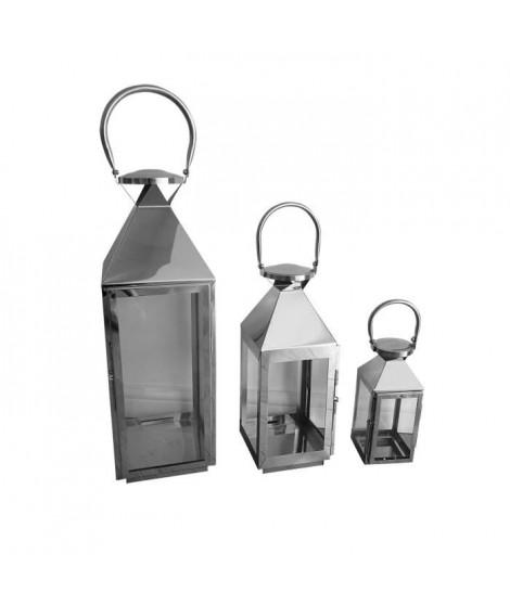 HOMEA Set de 3 lanternes H18-33-48 cm argenté