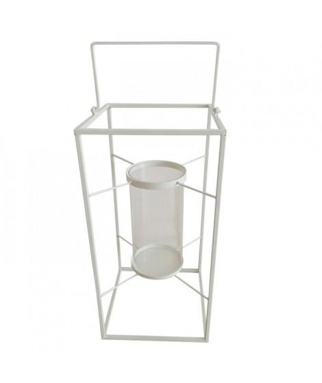 HOMEA Lanterne en métal 24x24xH48 cm blanc