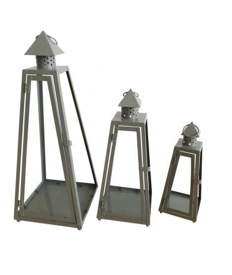 HOMEA Set de 3 lanternes pyramide en métal H30-40-55cm gris