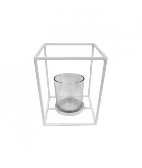HOMEA Photophore en métal et verre 12x12xH15 cm blanc