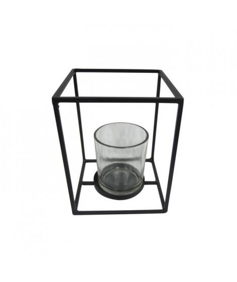 HOMEA Photophore en métal et verre 12x12xH15 cm noir