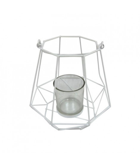 HOMEA Photophore Geometrik 18,5x18,5xH18 cm blanc