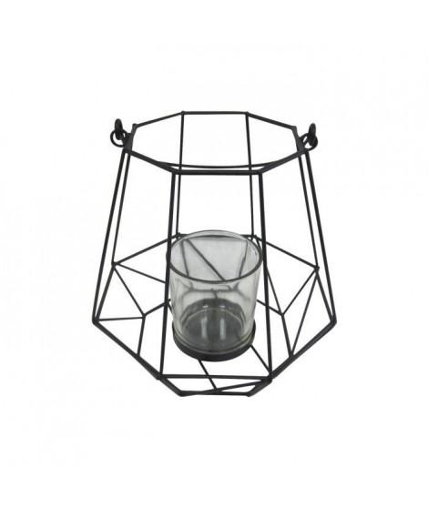 HOMEA Photophore Geometrik 18,5x18,5xH18 cm noir