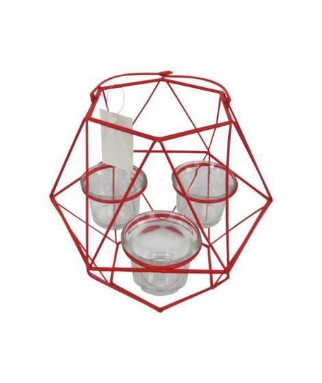 HOMEA Photophore Geometrik 20x18,75xH27 cm rouge