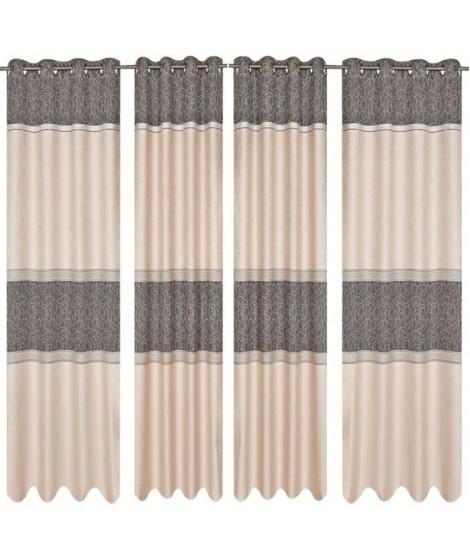 Paire de double rideaux Jacquard 140x260cm gris