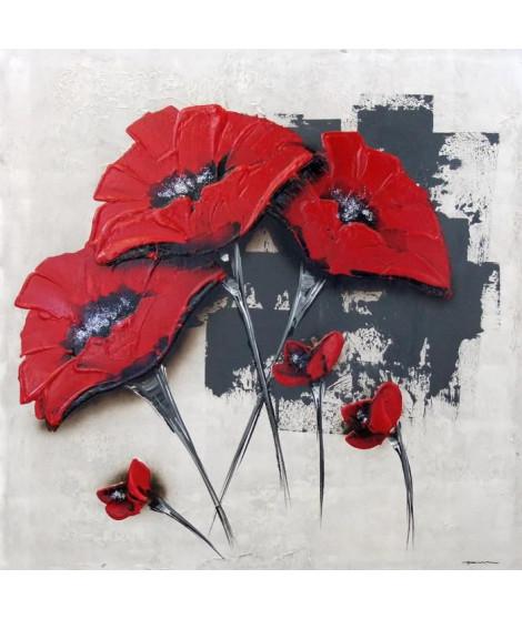 FLOWERS Tableau déco toile peinte a la main 50x50 cm rouge