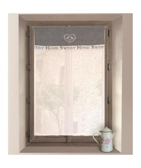 SOLEIL D'OCRE Brise-bise brodé Sweet Home 100% coton 60x90 cm gris et blanc