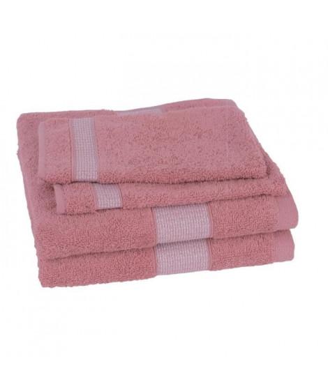 JULES CLARYSSE Lot de 2 serviettes 50x100 cm + 2 gants 15x21 cm Sukan vieux rose
