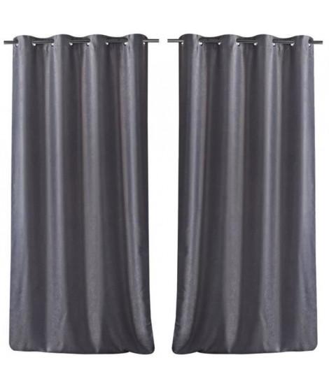 Paire de double rideaux occultant effet velours 140x260cm gris