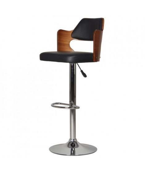 AVESTA Tabouret de bar télescopique en bois bambou et pieds métal chromé - Revetement simili noir - Contemporain - L43,5 x P5…