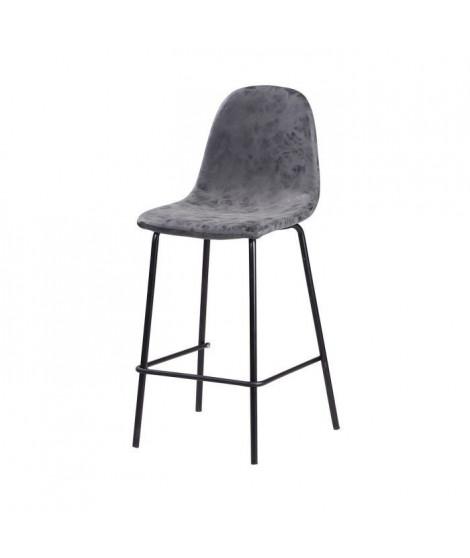 Lot de 2 tabourets de bar pieds en métal noir - Revetement simili PU gris anthracite - Industriel - L 39,5 x P 47,5 cm