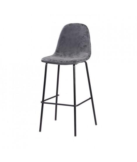 Tabouret de bar pieds en métal noir - Revetement simili PU gris anthracite - Industriel - L 39,5 x P 47,5 cm