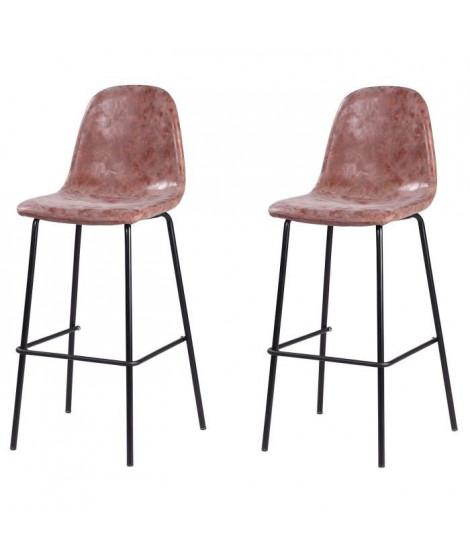 Lot de 2 tabourets de bar pieds en métal noir - Revetement simili PU marron - Industriel - L 39,5 x P 47,5 cm
