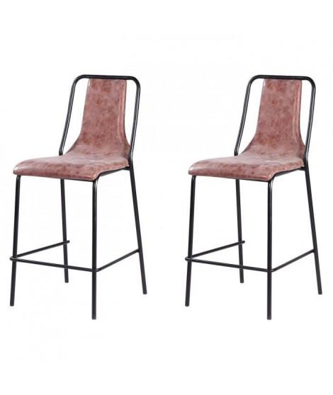 Lot de 2 tabourets de bar pieds en métal noir - Revetement simili PU marron - Industriel - L 40 x P 50 cm