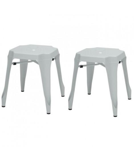 KRAFT Amy Lot de 2 tabourets - Métal blanc mat - Style industriel - L 42 x P 42 cm - Assise H 44cm