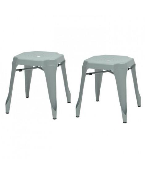KRAFT Amy Lot de 2 tabourets - Métal gris satiné - Style industriel - L 42 x P 42 cm - Assise H 44cm