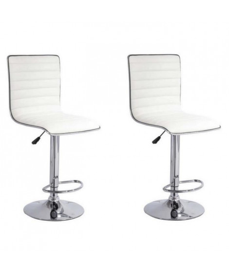 SLIM Lot de 2 Tabourets de bar blancs
