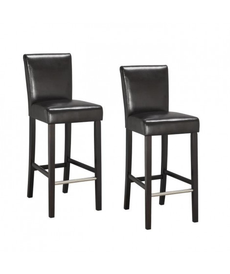 ELVIS Lot de 2 chaises de bar marron
