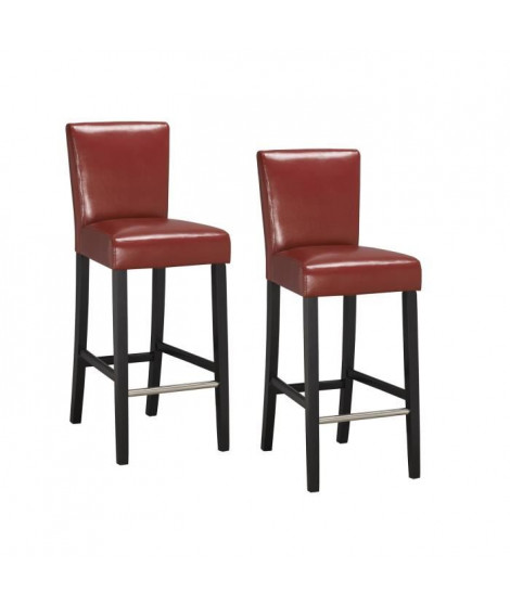 ELVIS Lot de 2 chaises de bar rouges