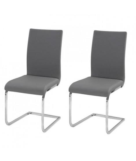 LEA Lot de 2 Chaises de salle a manger grises