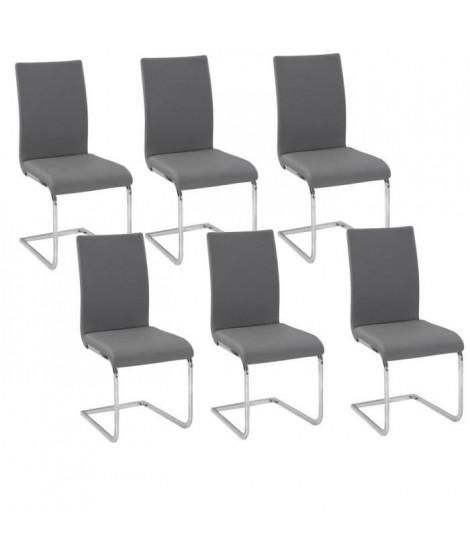 LEA Lot de 6 Chaises de salle a manger grises