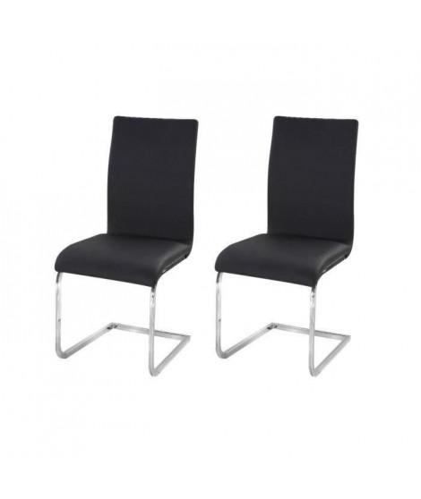 LEA Lot de 2 Chaises de salle a manger noires