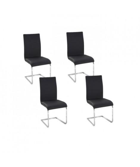 LEA Lot de 4 Chaises de salle a manger noires