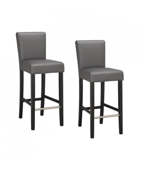 ELVIS Lot de 2 chaises de bar grises