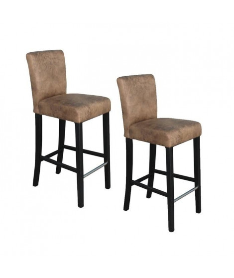 ELVIS Lot de 2 tabourets de bar en tissu - Marron vintage