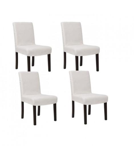 STRIP Lot de 4 chaises de salle a manger déhoussables ivoire
