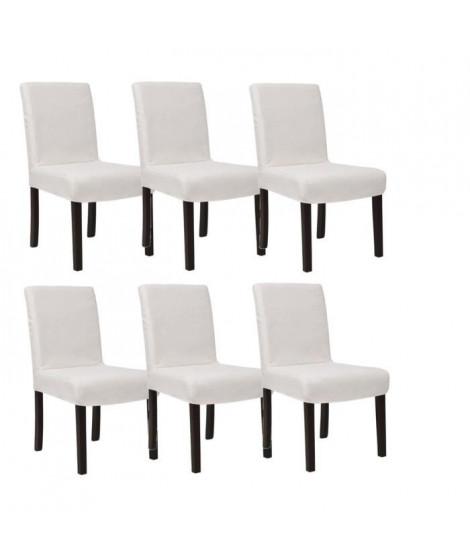 STRIP Lot de 6 chaises de salle a manger déhoussables ivoire