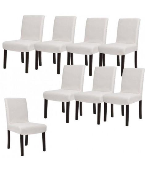 STRIP Lot de 8 chaises de salle a manger déhoussables ivoire