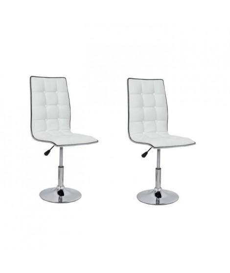 LEAF Lot de 2 chaises de salle a manger blanches