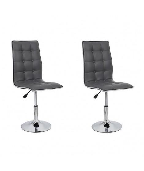 LEAF Lot de 2 chaises de salle a manger grises