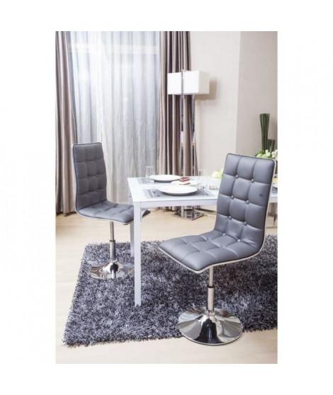 LEAF Lot de 4 chaises de salle a manger grises