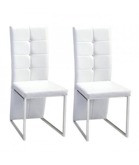 BLING lot de 2 chaises de salle a manger Strass blanches