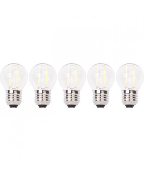 XQ-LITE Lot de 5 ampoules LED filament E27 globe 2W équivalence 20W