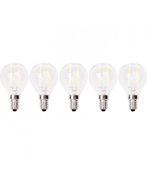XQ-LITE Lot de 5 ampoules LED filament E14 globe 2W équivalence 20W