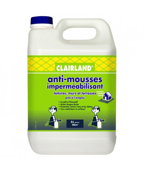 CLAIRLAND Anti-Mousses et imperméabilisant sur toitures, terrasses et dallages - Solution prete a l'emploi pour pulvérisateur…