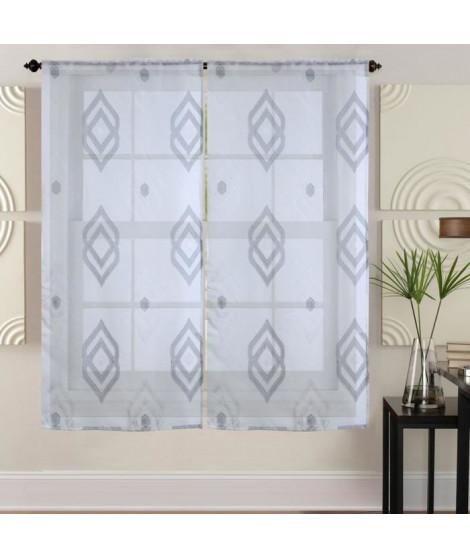 Paire de vitrages - 2x60x120cm - Gris avec motifs