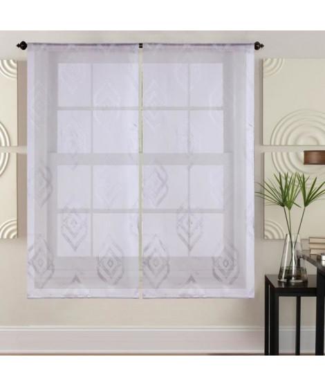 Paire de vitrages - 2x60x160cm - Blanc avec motifs