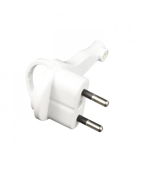 ZENITECH Fiche électrique mâle extra plate 2P 6A blanc