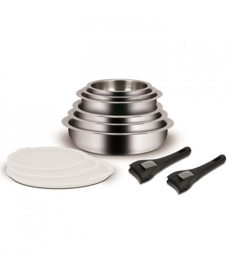 Batterie de cuisine 11 pieces + poignée amovible Inox 18/10
