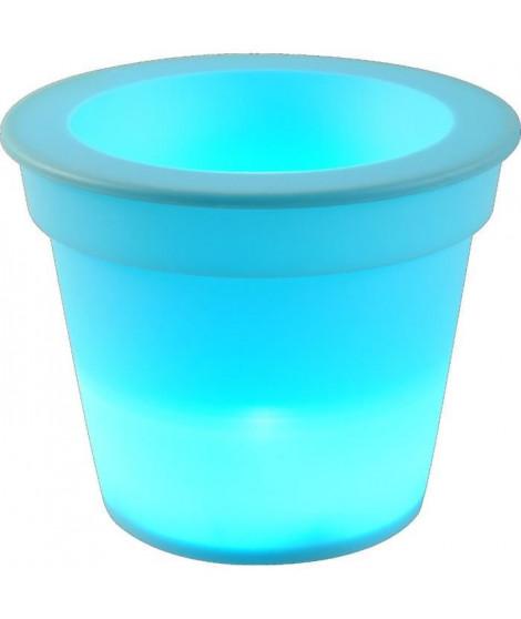 HOMEA Pot Lumineux En Plastique A Piles + 1Led O16*H13Cm Bleu Turquoise