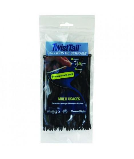THOMAS & BETTS Lot de 50 colliers de serrage noirs - Diametre maximum 45 mm