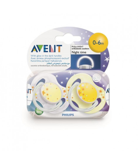 Avent 2 Sucettes Orthodontiques Silicone Night Time 0-6 Mois - Couleur : Jaune